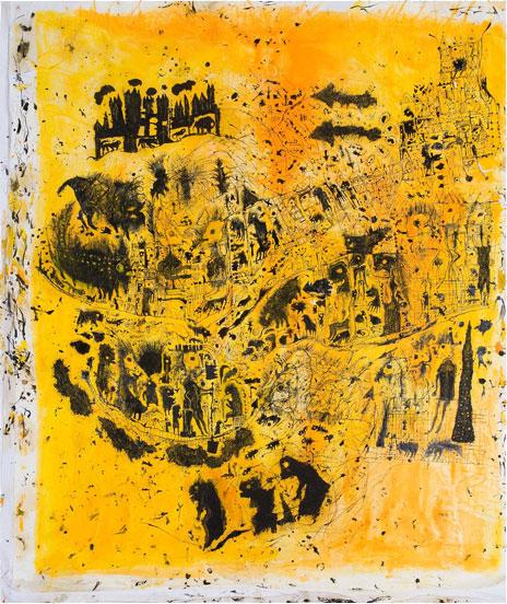 geen titel, s.d.gem.techniek op papier op doek, 121x102 cm